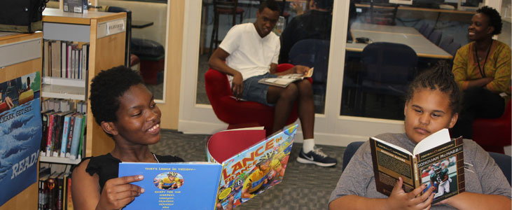 Gateway special education students enjoying some reading time in the library